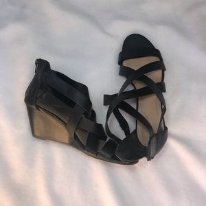 Charlotte Russe Black Strappy Wedge Heels 7.5